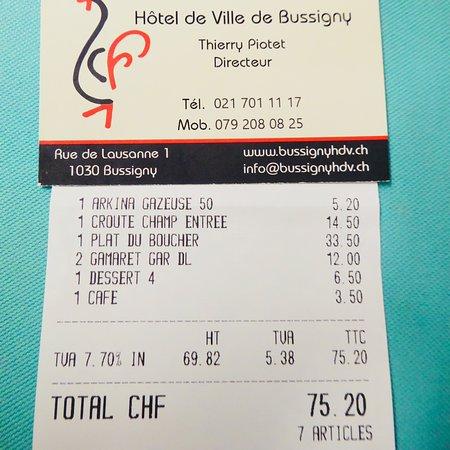 Bussigny-pres-Lausanne, Suiza: Restaurant Hôtel de Ville, Bussigny