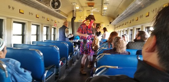 Stettler, Canada : Bandit on the train collecting money.