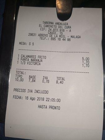 Artola, Spain: Cuenta