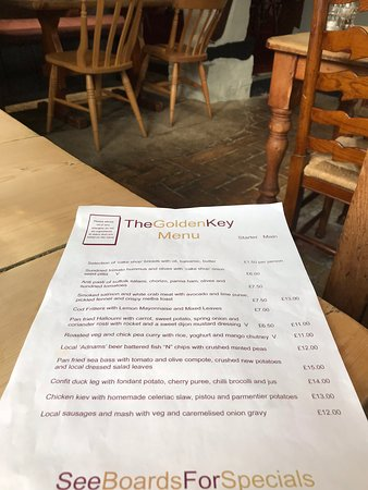 Snape, UK: The Menu