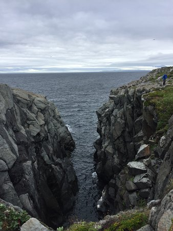 Quirpon Island, Canadá: Ocean cave/crevasse during walk to the southern tip of the island.