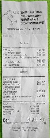Neustadt an der Waldnaab, Deutschland: Rechnung über zwei Suppen, sechs Hauptgerichte und sechs Getränke