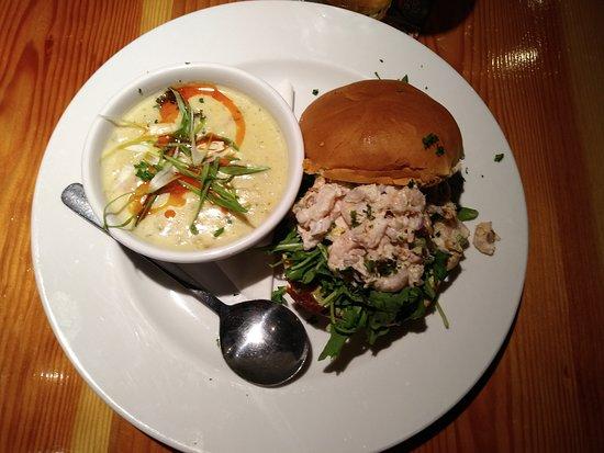 Modern Cafe: Chowder & Crab/shrimp sandwaich