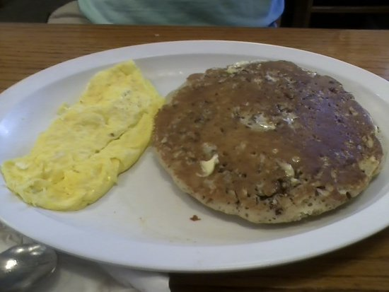 Belleview, FL: pecan pancakes and scrambled eggs (bacon already consumed)