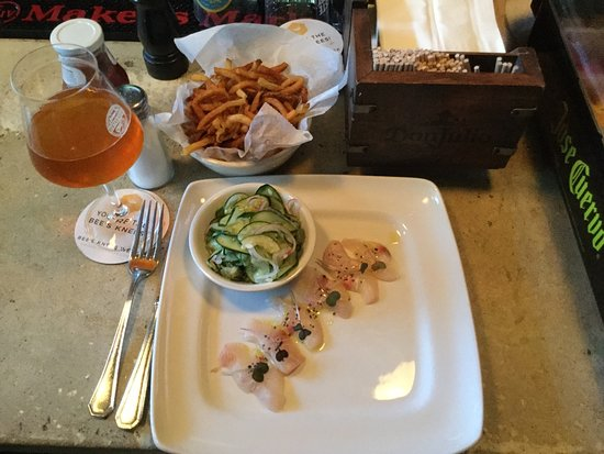 Hamachi Crudo, cucumber in delicate vinegar, and the most underrated fries in Rehoboth.