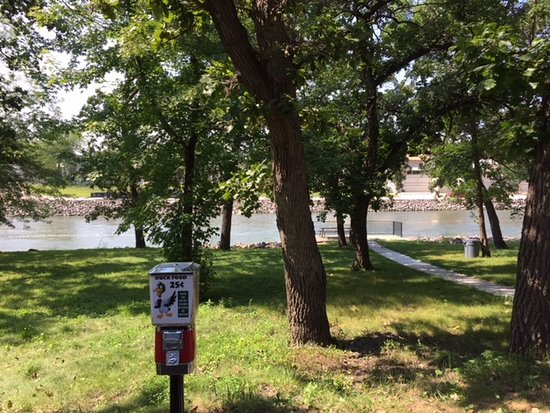 Granite Falls, MN: park and benches along the river   duck food feeder  east side