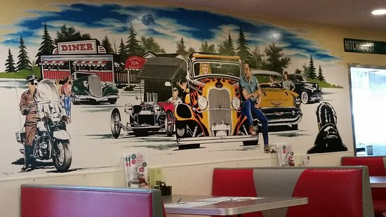 New Hampton, NH: one of the hand painted mural walls to enjoy