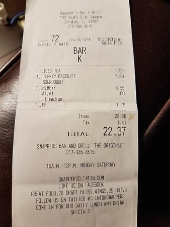 Κλίντον, Ιλινόις: Receipt with .60 cents for a small cup of A1 Sauce.