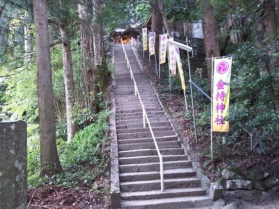 Kamochiji Shrine: 石段を登る