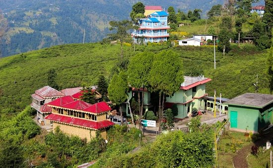 Ilam, Nepal: A splendid view of a Chiybari Cottage which lies in the center of Tea garden.