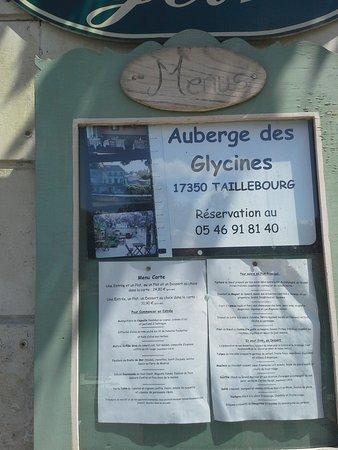 Taillebourg, Francja: La carte du restaurant
