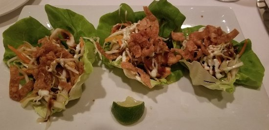 208 Talbot: Shrimp and lettuce wrap with picked veggies and thin wonton crisps.  Knock your socks off delici
