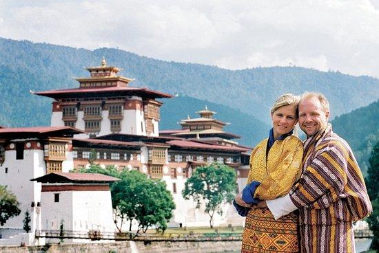 Thimphu District, Bhutan: Punakha Dzong with a beautiful couple.