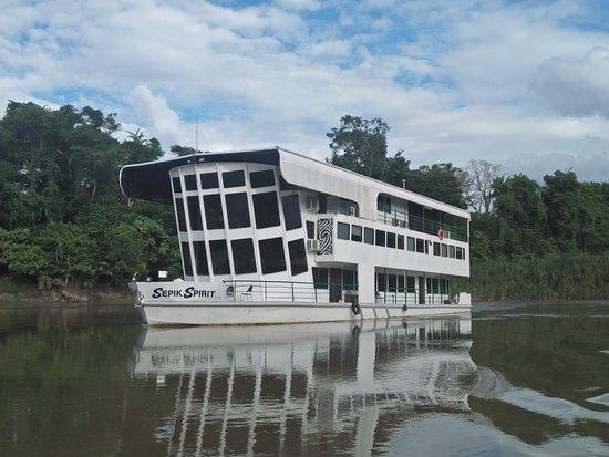Angoram, Papua New Guinea: Sepik Spirit sailing down Karawari River, - August 2018 (Photo by Dominic Tulo)