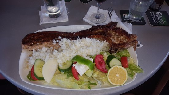 Shake Bar: Pork chop with rice & salad... no chips!