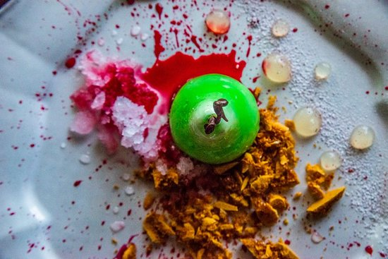 Pear Tree: Pear Pannacotta, Honey Comb, Beetroot Syrup, Pink Gin and Tonic Snow