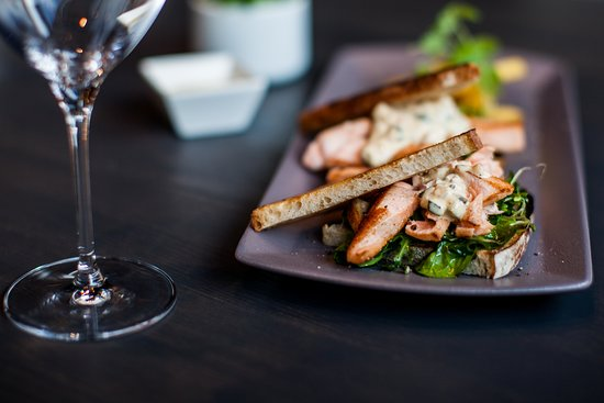 Nesna, Norway: Aurora Restaurant and Livescene. Pulled salmon, tartarsaus. from Kvarøy.