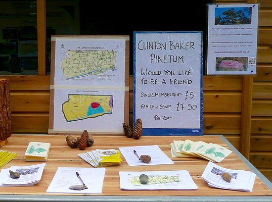 Hertfordshire, UK: Notice board at Clinton-Baker Pinetum