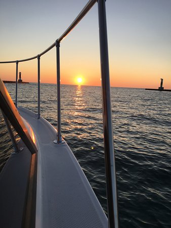 Onekama, MI: Heading past the pierheads to catch another great sunset!