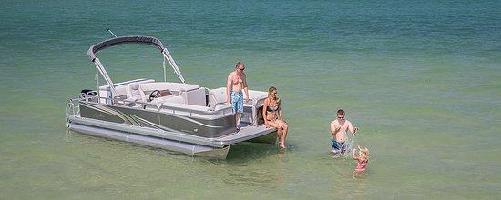 Torch Lake sand Bar - Picture of Pontoon Boat Rental