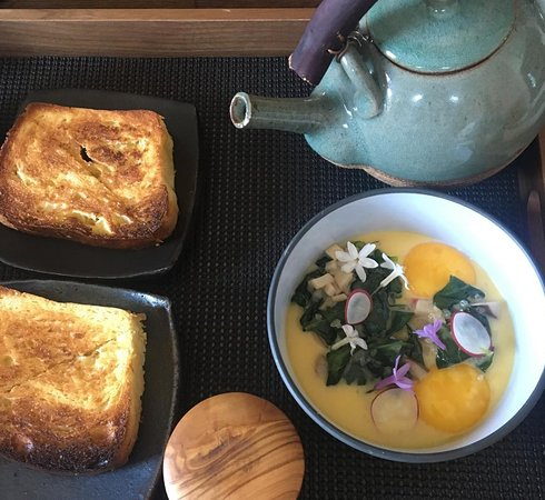 Delicious shirred eggs delivered to your room for breakfast