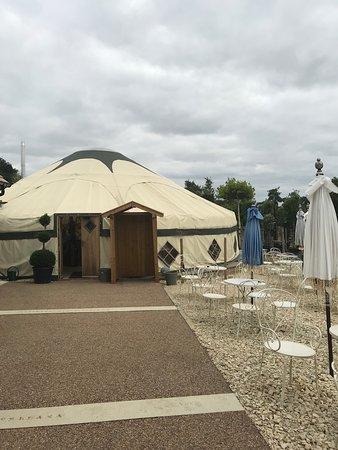 Walking towards the yurt