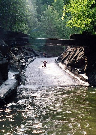Famous rockslide at Big Canoe's Swim Club on Lake Disharoon.