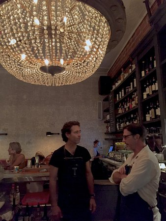 Terroni: Two of my favorite bartenders, John and Matt, as well as the glorious chandelier above the bar.