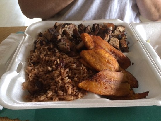 South Milwaukee, Висконсин: Jerk pork, rice and peas, plaintains