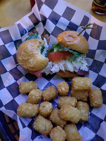 The Pickled Wrinkle: Crab blt sliders with tots