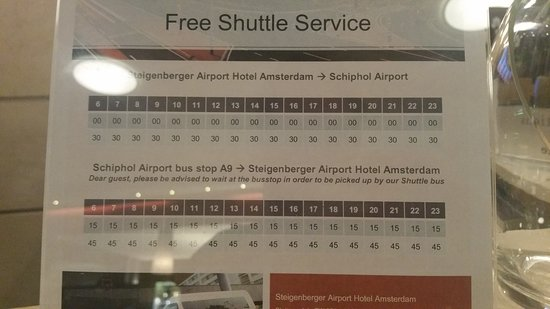 Schiphol Hotel Shuttle: Timetable of the Steigenberger bus from the hotel to the airport and vice versa.