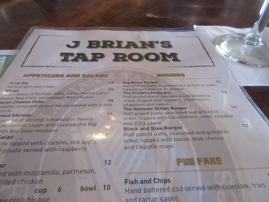 J Brian's Tap Room: Menu is simple