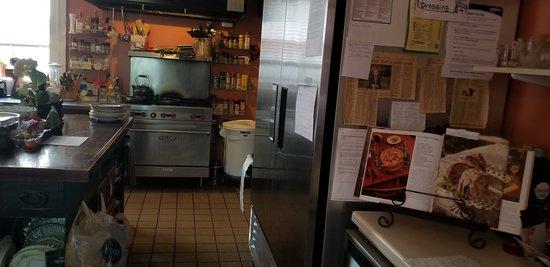Jeffersonville, IN: Kitchen, where delicious to-order breakfasts are prepared
