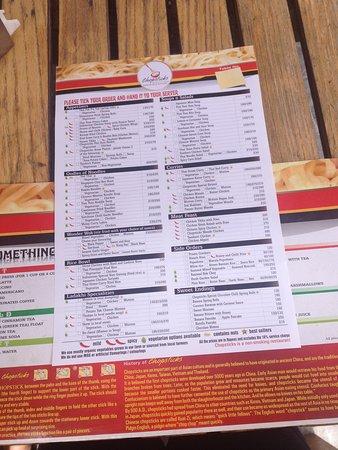 Chopsticks Noodle Bar menu