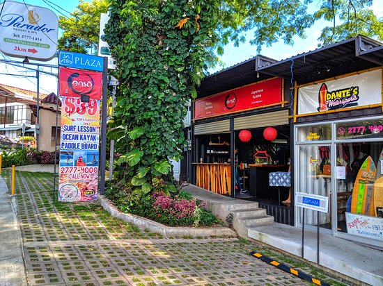 Across from Café Milagro in Manuel Antonio, the plaza is made of repurposed shipping containers!