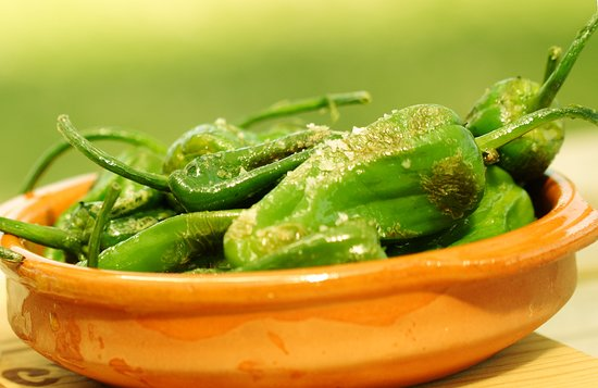 Loddiswell, UK: Pimiento de Padron tapas - picked fresh, usually from July to Nov
