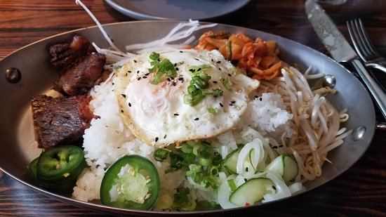 Korean- note meat on left- egg on top