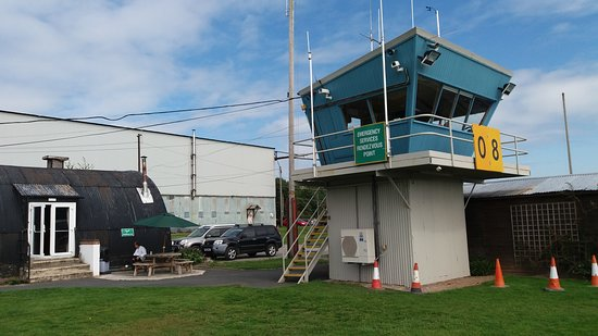 Shobdon airfield Control Tower by the outside seating area.