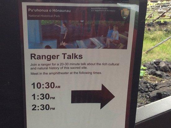 Honaunau, HI: shedule rangers talks