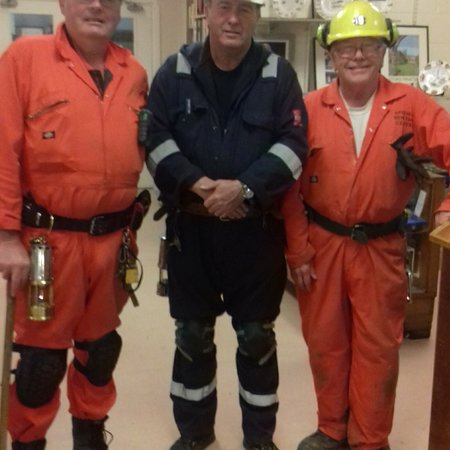Chesterton, UK: 3 of the underground mine guides that take you around underground.