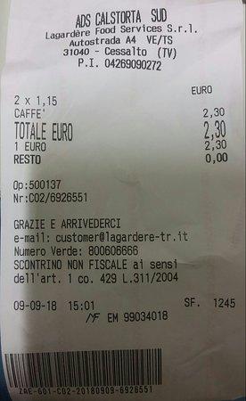 Cessalto, Italien: Scontrino