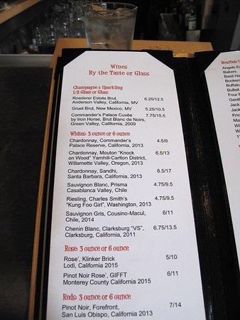 Cafe Adelaide & The Swizzle Stick Bar: Swizzlestick Bar in Lowe's - Wine List