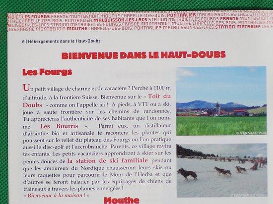 Les Fourgs, France : Brochure hébergements dans le Haut-Doubs à l'OT