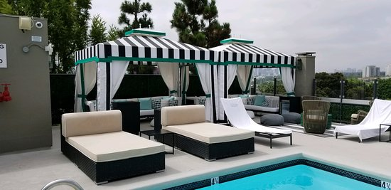 Beautiful rooftop pool offers great city views.