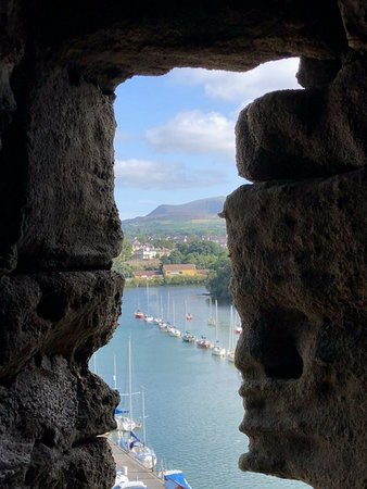 Y Felinheli, UK: View from a castle window at Caernarfon Castle.