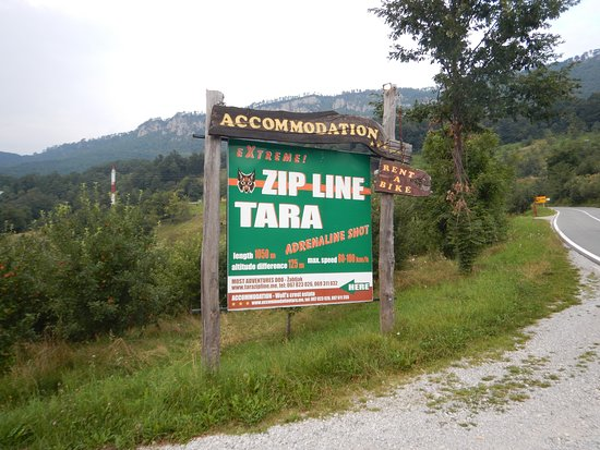 Pljevlja Municipality, Μαυροβούνιο: Skilt ved Zip Line Tara
