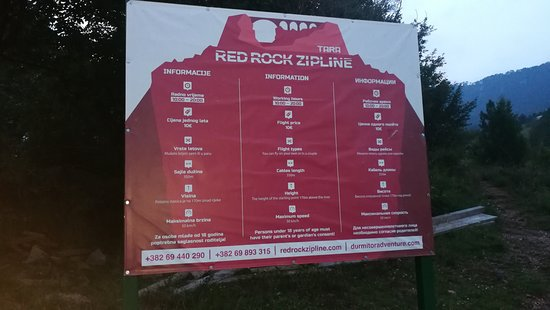 Pljevlja Municipality, Μαυροβούνιο: Skilt ved Red rock zipline