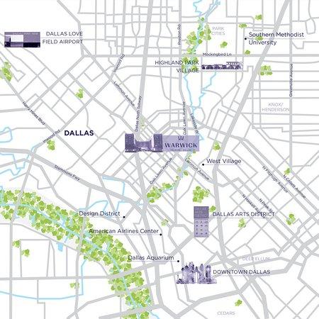 Map - Picture of Warwick Melrose - Dallas, Dallas - TripAdvisor Downtown Dallas Hotel Map on