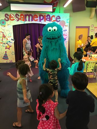 Sesame Place: Dancing with characters allowed after the show and photo visits at each table