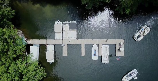 Glenville, NC: Arial view of the boat dock.